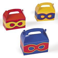 12 SUPERHERO super hero Mask BIRTHDAY PARTY FAVOR BOXES LOOT BAG TREAT