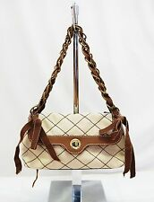 MOSCHINO CHEAP AND CHIC BROWN BEIGE CANVAS STITCHED CHAIN SHOULDER HAND BAG S