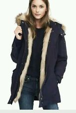 NWT Banana Republic Faux Fur Solid Parka Jacket Coat XSP / XS Petite