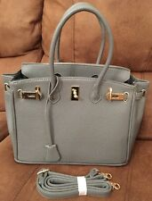 Birkin Style Grey Small Leather Tote Handbag With Strap Inner Phone Pocket