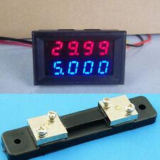 0-100V 50A DC Digital LED Voltmeter Ammeter Amp Volt Meter + 50A shunt 12v 24v