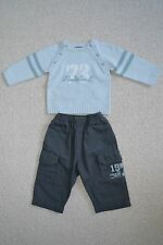 BNWOT TIMBERLAND BOYS GREY CARGO PANTS TROUSERS 6M 9M BLUE TOP SWEATER JUMPER