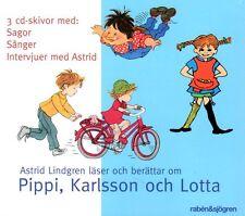 3 CD Hörbuch Astrid Lindgren SCHWEDISCH Pippi, Karlsson och Lotta, Lieder