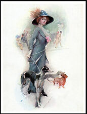 GREYHOUND GLAMOROUS LADY AND HER DOGS LOVELY VINTAGE STYLE DOG PRINT POSTER