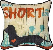 Not Short On Love Dachshund Dog Throw Word Pillow with Heart Made in USA