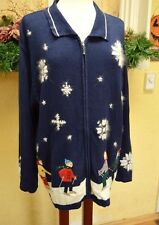 Holiday Lodge Nordic Snowflake Skier Border Sweater 2X Warm Cute Jeans Plus Sz