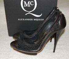 NWB $450 MCQ by Alexander McQueen Black Mesh Leather Cap Toe Pumps Heels 9 US/39