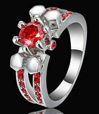 Woman Christmas Gift 14KT White Gold Filled Red Ruby Wedding Ring size 8