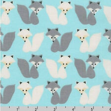 BY YARD-Woodland Pals Fox Foxes Gray Robert Kaufman Fabric 15958-70 Aqua Blue