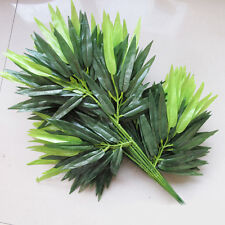 2 Stems Artifical Bamboo Leaf Green Plants Tree Branches 40 Leaves Home Decor