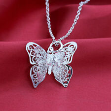 1Pcs Exquisite Fashion Silver Butterfly Necklace Pendant Xmas Gift