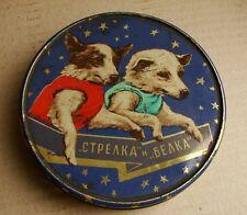 Soviet RUSSIAN TIN BOX Space Belka Strelka Laika Dog Roсket 1960 Kosmos