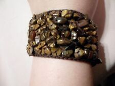 Designer Inspired Tiger Eye Chip Bead Macrame Bracelet-7.5 inches