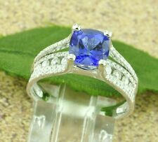 NEW DESIGN 2.60 ct CUSHION CUT AAAA TANZANITE &  DIAMOND RING white gold  18k