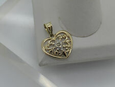 Solid 14k Yellow White Gold Diamond Chip Accent Filigree Heart Necklace Pendant