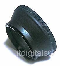 55mm Rubber Folding Lens Hood Sun Shade Collapsable Double Thread Metal Ring New