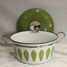 "Catherineholm 8.5"" 2 Quart Stock Pot Dutch Oven Enamel White Green Lotus Norway"