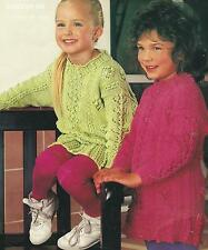 """Girls Knitting Pattern Long Sweater Tunic 20-26"""" Double Knitting  203"""