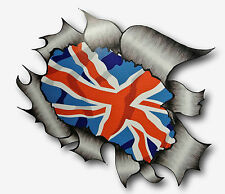 Ripped Torn Metal Look Design & Union Jack British Flag vinyl car sticker decal