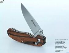 Ganzo G727M-W1 Folding Knife Wood Handle Pocket Clip 440C Blade