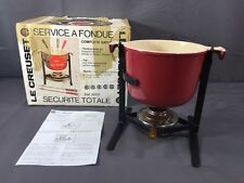 "Le Creuset Cherry Red Enzo Mari ""La Mama"" Fondue Pot w/ Stand & Alcohol Burner"