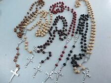 US SELLER-50pcs Rosary Cross Jesus Crucifix Pendant Wooden Beads Chain Necklace