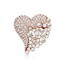 GORGEOUS 18K GOLD PLATED &  GENUINE AUSTRIAN CRYSTAL & PEARL HEART  BROOCH