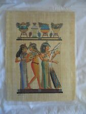 "Egyptian Papyrus Paper Hand Painting Three Muscians 13""X17"""