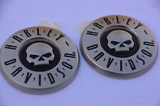 "HARLEY DAVIDSON NEW  WILLIE G. 3"" SKULL CVO Gas Tank Emblems ' LEFT & RIGHT"