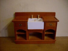 Dollshouse Miniature   ~  WOODEN  ~ Kitchen Sink & Shelves Unit