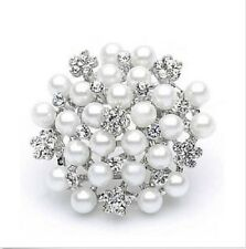 White Faux Pearl & Diamante Rhinestone Crystal Sparkly Flower  Brooch