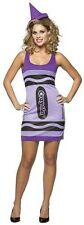 Crayola Crayon Costume Womens Female Adult Fancy Dress Pink Yellow Green Black