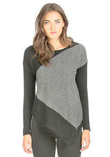 New PREMISE WOMENS CASHMERE ASYMMETRICAL BOAT NECK SWEATER GRAY BLACK  Large #1
