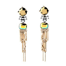 BEAUTIFUL ZARA GOLD TASSELS 4'' DROP DANGLE EARRINGS NEW