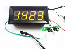 Digital Probe thermometer Car Clock/Voltmeter 3in1 Panel Meter DC 12V/24V Yellow