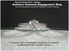 Diamond Engagement Ring Platinum Solitaire Diamond .91ct UK P Antique Edwardian