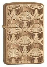Zippo 28541 armor fanned discs deep carved tumbled brass finish Lighter
