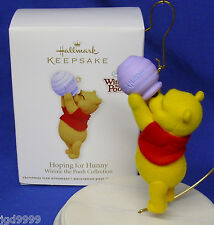 Hallmark Winnie the Pooh Ornament Hoping for Hunny 2011 Flocked Pooh Honey Pot