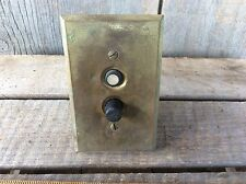 Vintage Brass Plate Duo Switch Salvaged Light Switch With Porcelain Guts.
