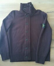 Stone island jumper sweater jacket size l large 100% wool hot heavy wine color