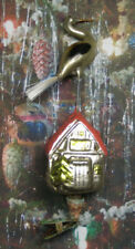 """Stork on House - """"Vintage Style"""" Ornament Blown in Lauscha, Germany"""