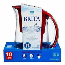 Brita Filtration System Kit Oceania Red Water Filter Pitcher  & 2 Filters 10 Cup
