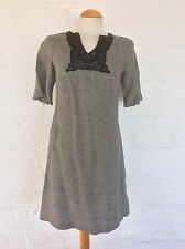 Sticky Fingers Dress, tunic - Linen, Black/Grey Check, Short Sleeves - Size 10