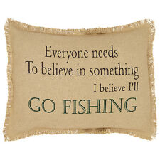 "I BELIEVE I'LL GO FISHING Cotton Burlap 14""x 18"" Complete Pillow with Filler"