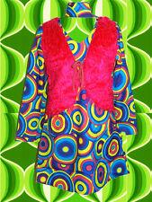208✪ Hippie Psychedelic Trompetenärmel Kleid Flokatiweste Kostüm 60er 70er Jahre