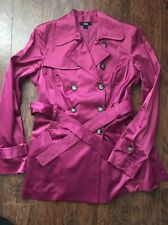 BCX Women's Light Spring Trench Jacket Magenta Pink Belted Size L NEW