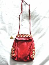 VINTAGE 80'S 90'S*FLY GIRL*RED&GOLD EMBELLISHED CROSSBODY POUCHETTE BAG PURSE