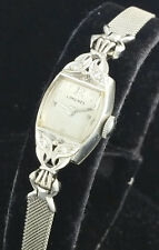 1951 VINTAGE LONGINES 14K WHITE GOLD LADIES COCKTAIL DRESS WATCH w/ DIAMONDS