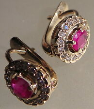 RUSSIAN RUSSIA 14CT GOLD .73CT RUBY 0.35 CT DIAMOND EARRINGS MALINKA