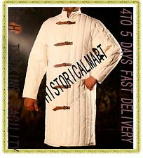 WHITE Gambeson Type IV Medieval Padded Armour Coat SCA LARP Arming Jacket